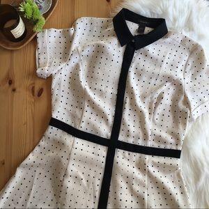 Ann Taylor Ivory Polka Dot Button Front Dress 12